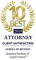 10 best 2018 | Attorney | client satisfaction | Elder law division | American institute of legal counsel